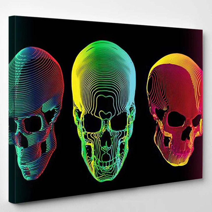 3 Psychedelic Gradient Colorful Line Skull - Psychedelic Canvas Wall Art