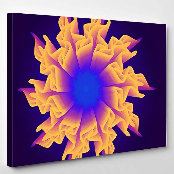 3D Flower Mesh Illustration Abstract Psychedelic - Psychedelic Canvas Wall Art
