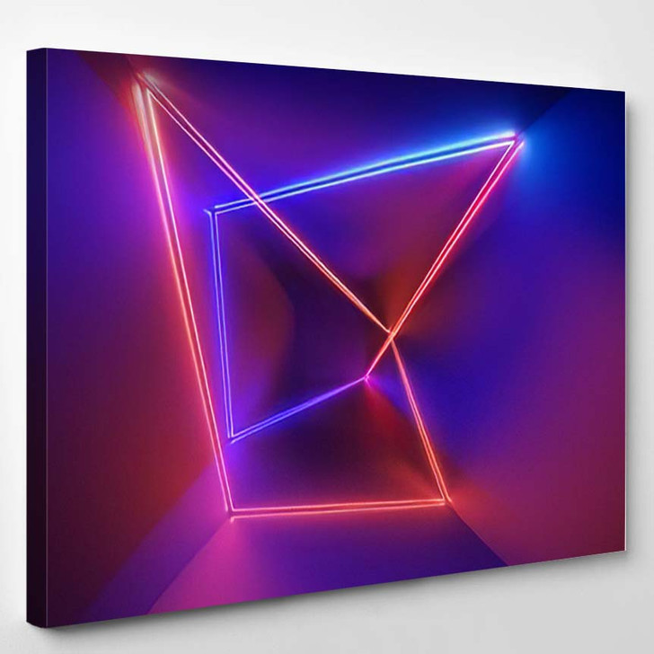 3D Render Ultraviolet Infrared Neon Lines - Psychedelic Canvas Wall Art