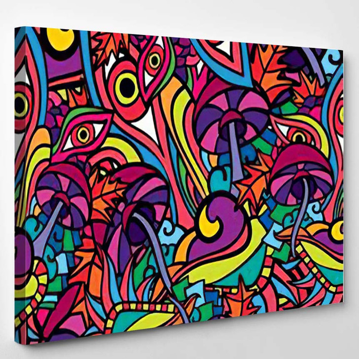 60S Hippie Psychedelic Art Seamless Pattern 2 - Psychedelic Canvas Wall Art