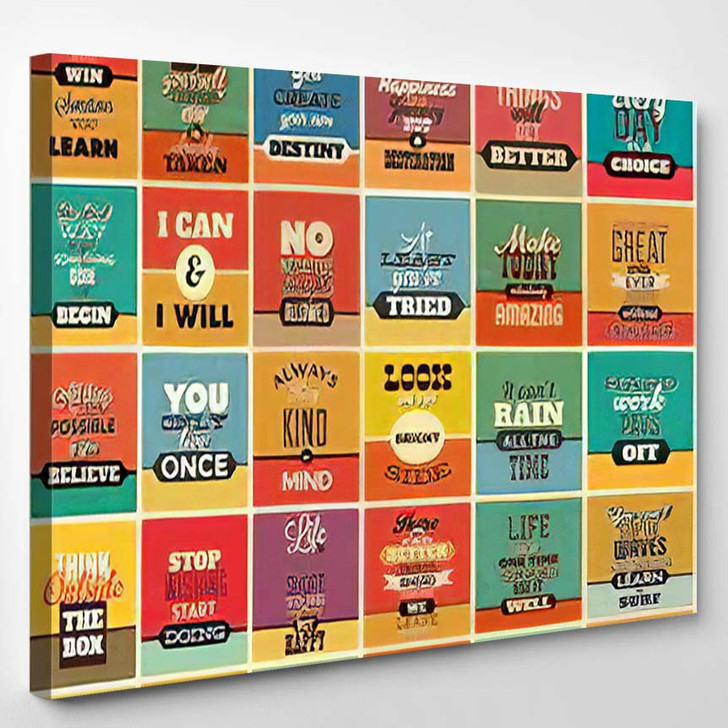 30 Typographic Poster Set Vintage Style - Quotes Canvas Wall Art