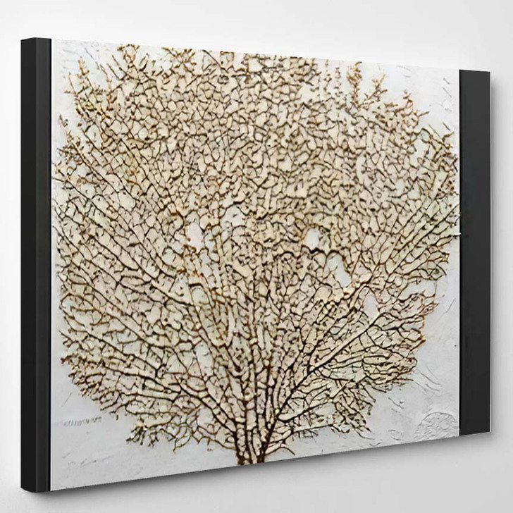 3D Render Picture Gold Coral - Abstract Art Canvas Wall Art