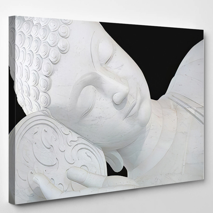 3D Illustration Thai Style Sleeping White - Buddha Religion Canvas Wall Art
