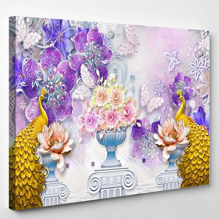3D Mural Illustration Background Golden Jewelry - Deer Animals Canvas Wall Art