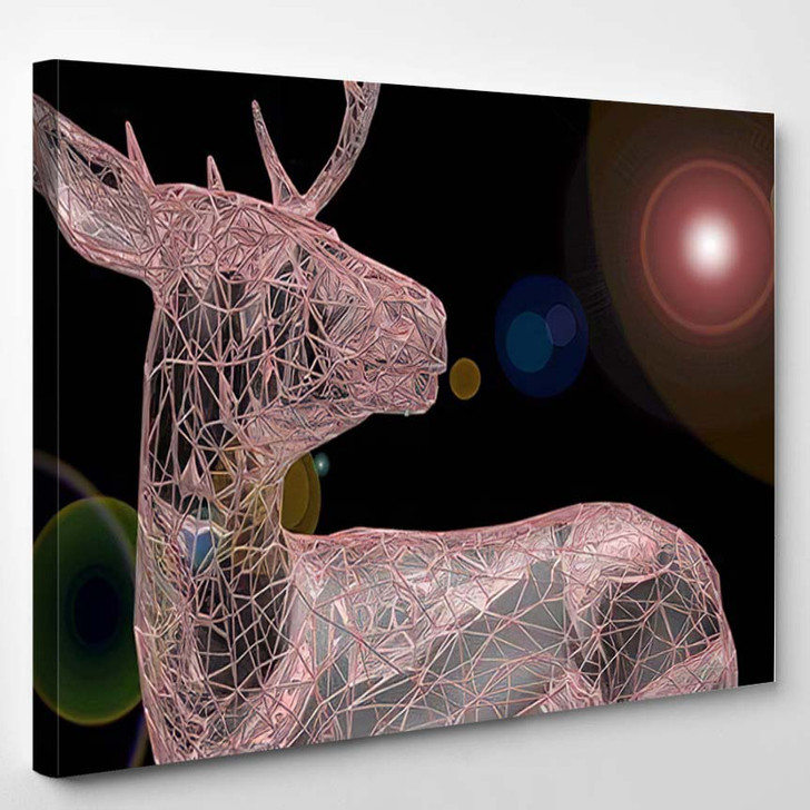 3D Render Abstract Illustration Unusual Blurry - Deer Animals Canvas Wall Art