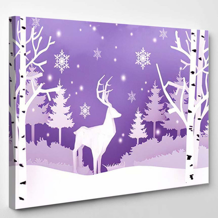 3D Rendering Digital Art Picture Postcard - Deer Animals Canvas Wall Art