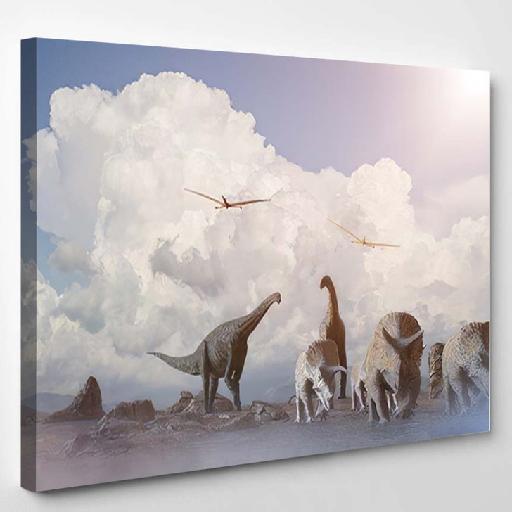 3D Illustration View Fantasy Landscape Dinosaur - Dinosaur Animals Canvas Wall Art