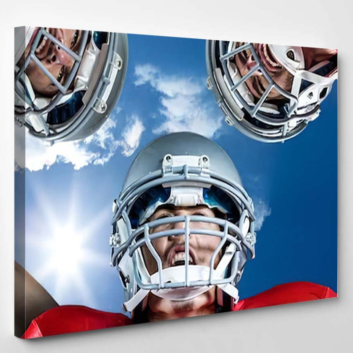 3D American Football Huddle Against Bright - Football Canvas Wall Art