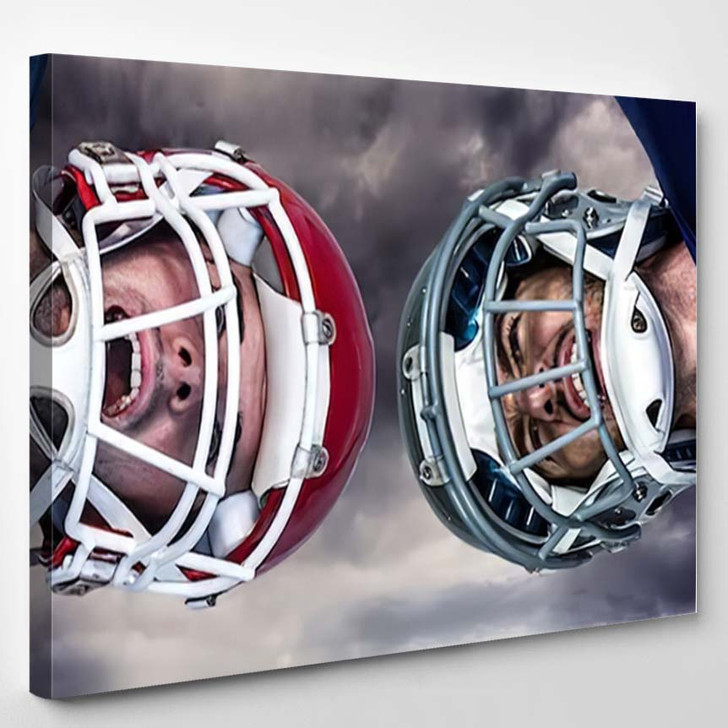 3D American Football Huddle Against Gloomy - Football Canvas Wall Art