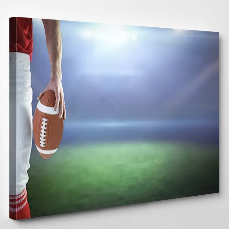 3D American Football Player Holding Against - Football Canvas Wall Art