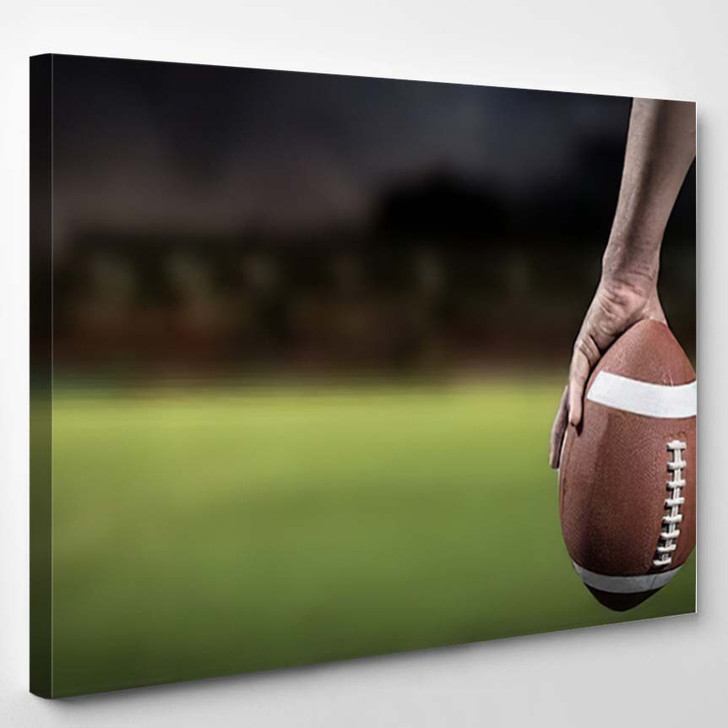 3D Cropped Image American Football Player - Football Canvas Wall Art