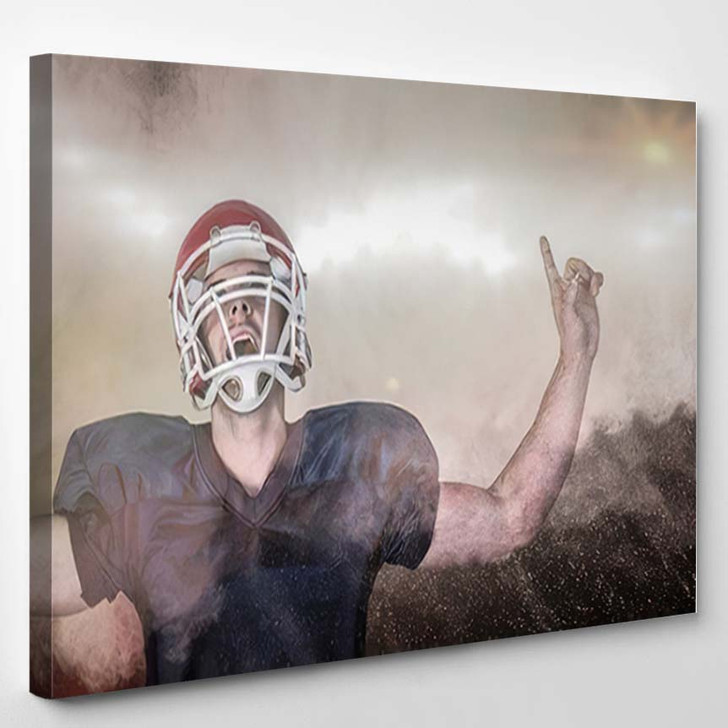 3D Rugby Player Celebrating While Pointing - Football Canvas Wall Art