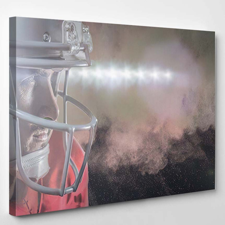 3D Serious American Football Player Red - Football Canvas Wall Art