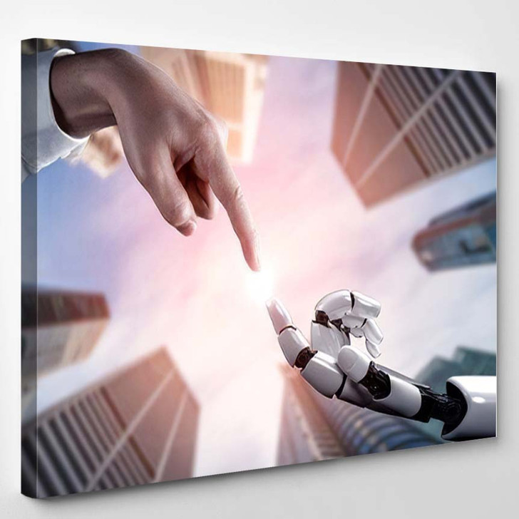 3D Rendering Artificial Intelligence Ai Research - Creation of Adam Canvas Wall Art