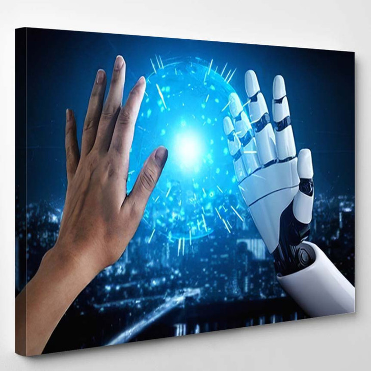 3D Rendering Artificial Intelligence Ai Research 9 - Creation of Adam Canvas Wall Art