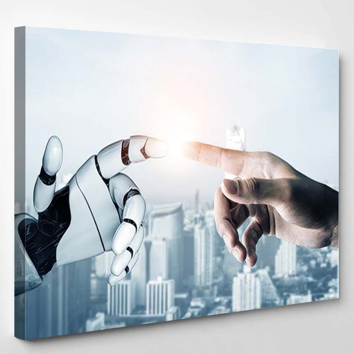 3D Rendering Futuristic Robot Technology Development - Creation of Adam Canvas Wall Art