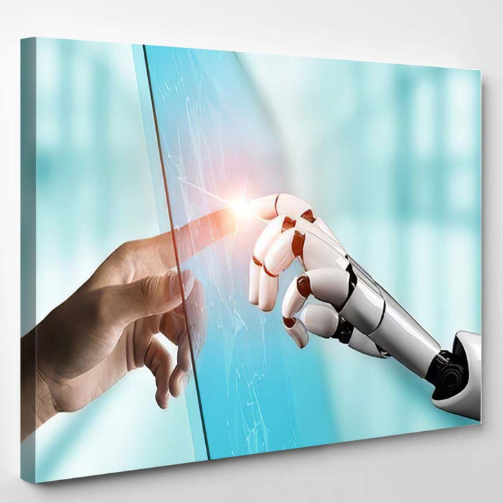 3D Rendering Futuristic Robot Technology Development 23 - Creation of Adam Canvas Wall Art