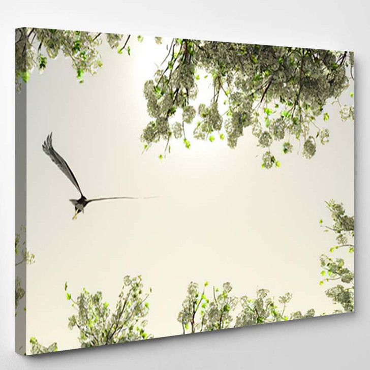 3D Illustration Eagle Flying Among Flowers - Eagle Animals Canvas Wall Art