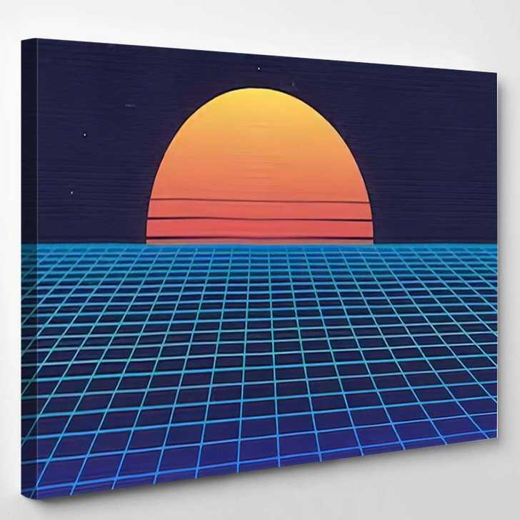 1980S Retro Futuristic Background Sunset Laser - Galaxy Sky and Space Canvas Wall Art