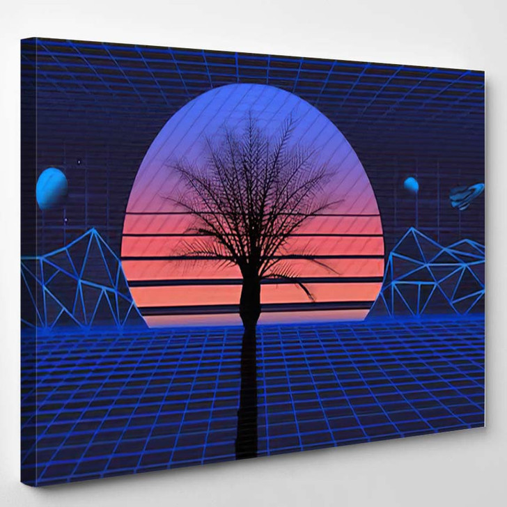 1980S Retro Futuristic Background Sunset Laser 1 - Galaxy Sky and Space Canvas Wall Art