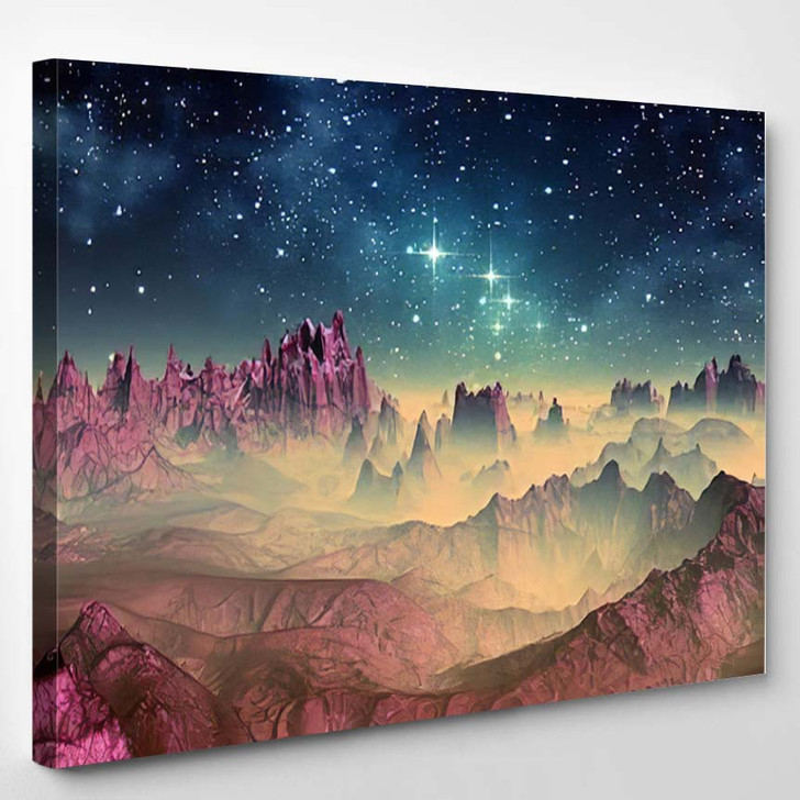 3D Created Rendered Fantasy Alien Planet 1 - Galaxy Sky and Space Canvas Wall Art