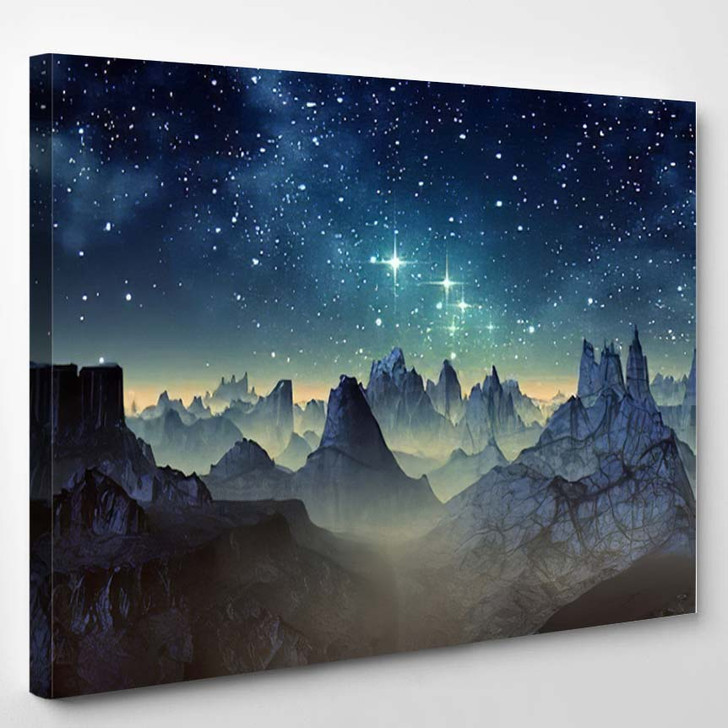 3D Created Rendered Fantasy Alien Planet 1  1 - Galaxy Sky and Space Canvas Wall Art
