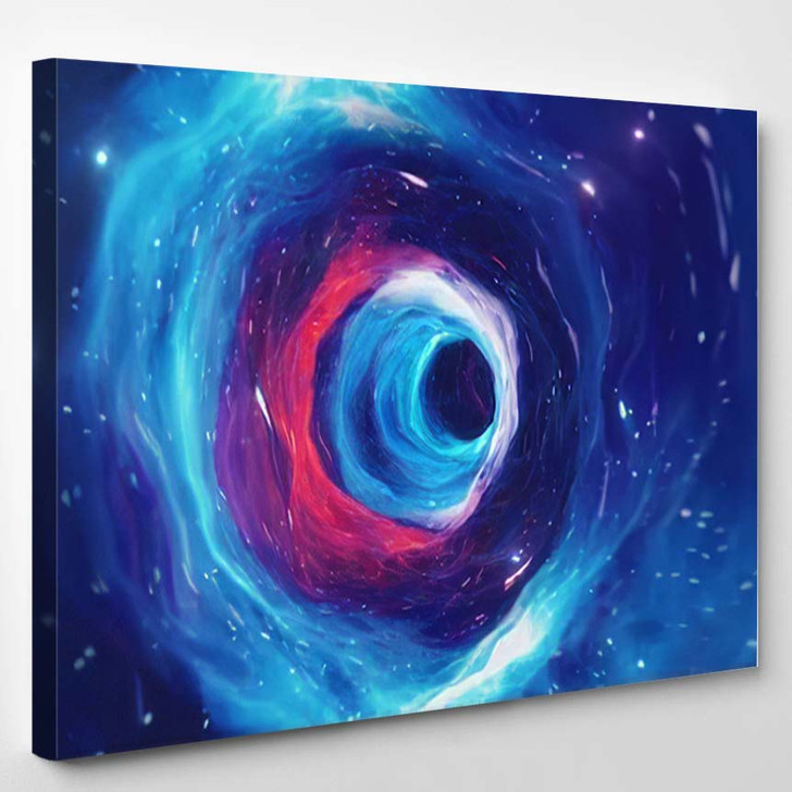 3D Illustration Tunnel Wormhole That Can - Galaxy Sky and Space Canvas Wall Art