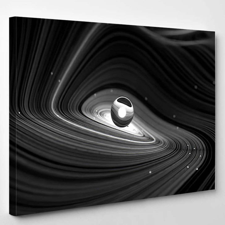 3D Render Black White Abstract Art - Galaxy Sky and Space Canvas Wall Art