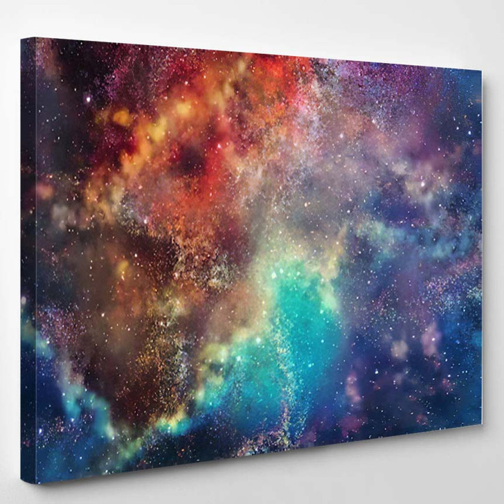 3D Rendering Galaxy Space Beauty Universe 2 - Galaxy Sky and Space Canvas Wall Art