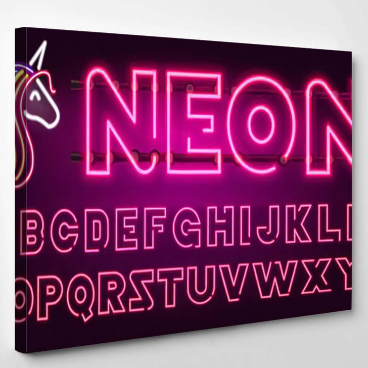 80 S Purple Neon Retro Font 1 - Galaxy Sky and Space Canvas Wall Art