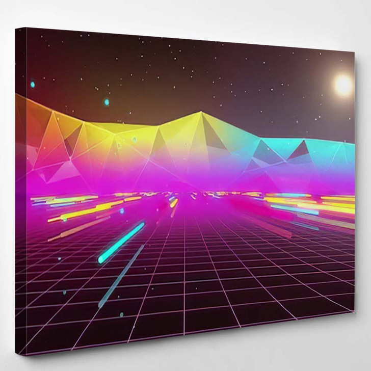 80S Futurism Neon Tube - Galaxy Sky and Space Canvas Wall Art