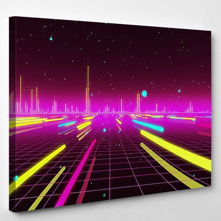 80S Futurism Neon Tube 1 - Galaxy Sky and Space Canvas Wall Art