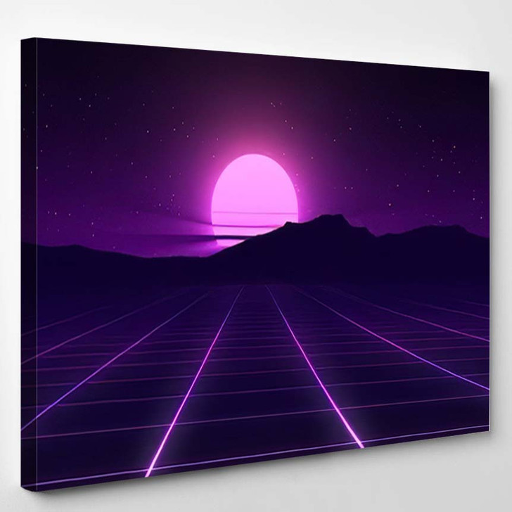 80S Retro Background Illustartion 3D Render - Galaxy Sky and Space Canvas Wall Art