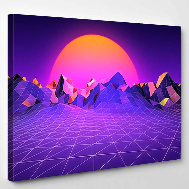 80S Retro Brackground Sunset Terrain - Galaxy Sky and Space Canvas Wall Art