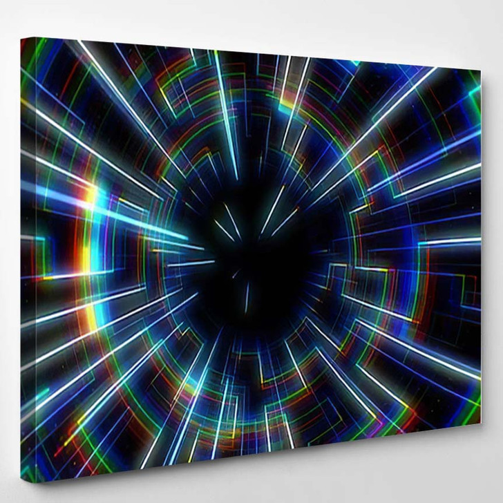 80S Retro Circle Tunnel - Galaxy Sky and Space Canvas Wall Art