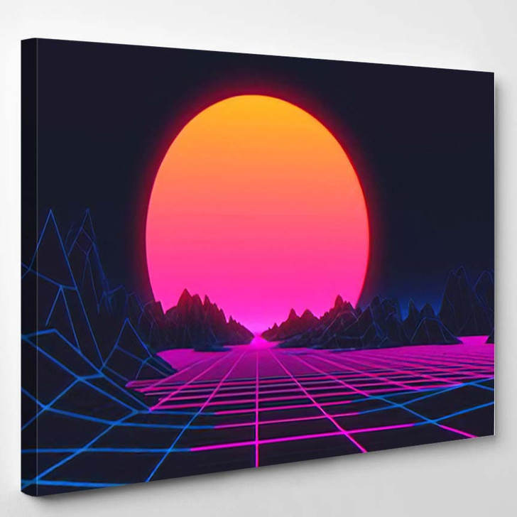 80S Retro Futurism Background 3D Illustration - Galaxy Sky and Space Canvas Wall Art