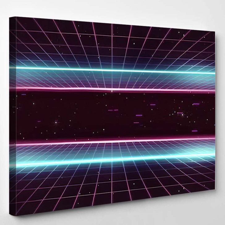 80S Retro Futurism Background 2 - Galaxy Sky and Space Canvas Wall Art