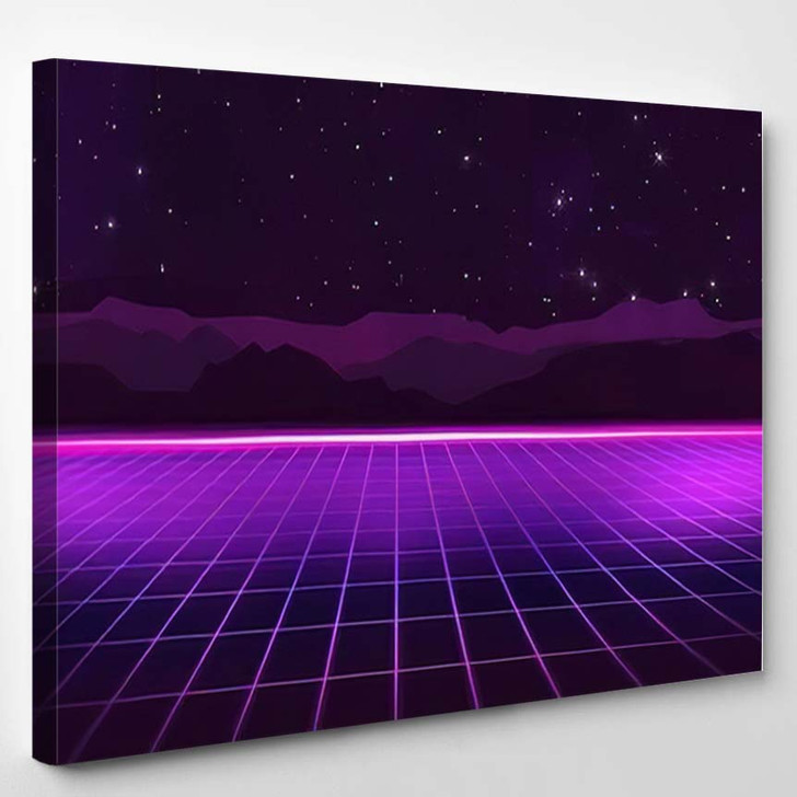 80S Retro Futurism Background 3 1 - Galaxy Sky and Space Canvas Wall Art