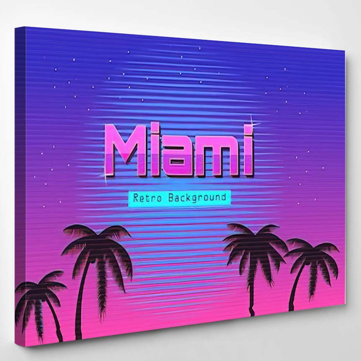 80S Retro Neon Gradient Background Palms 1 - Galaxy Sky and Space Canvas Wall Art