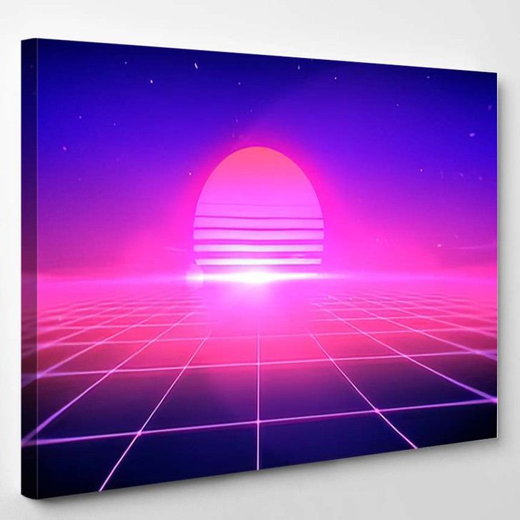 80S Retro Style Abstract Background Sun - Galaxy Sky and Space Canvas Wall Art