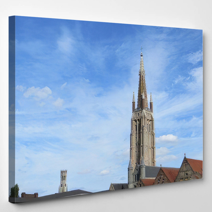 1155 Metres High Brick Tower Church - Landmarks and Monuments Canvas Wall Art