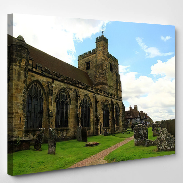 14Th Century St Marys Church Old - Landmarks and Monuments Canvas Wall Art