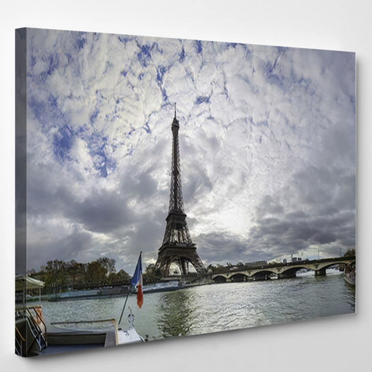 19 Mpx Panoramic View Eiffel Tower - Landmarks and Monuments Canvas Wall Art