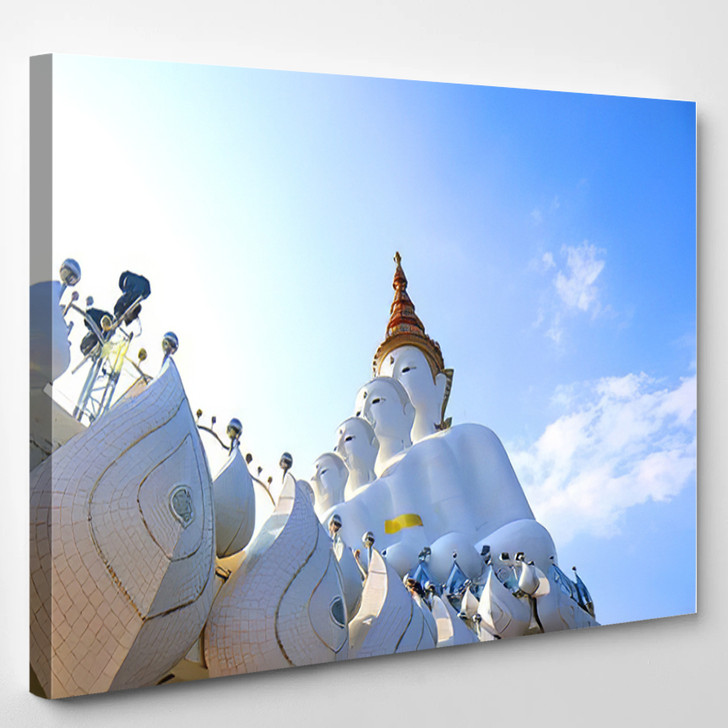 5 Buddha Statues On Blue Sky - Landmarks and Monuments Canvas Wall Art