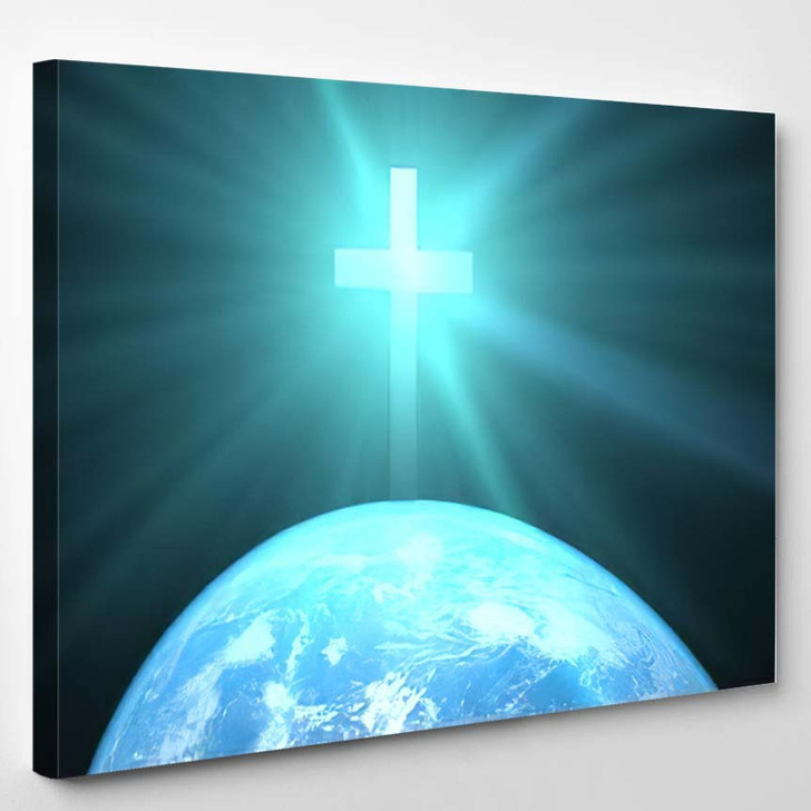 3D Illustration Christian Cross Over Planet - Jesus Christian Canvas Wall Art