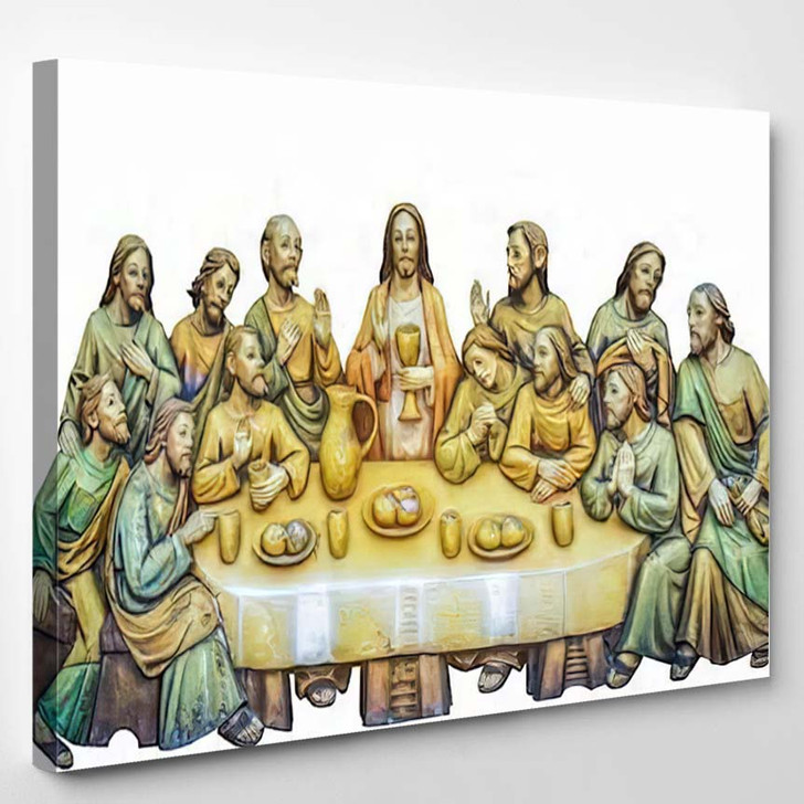 500 Years Old Antique Wooden Picture - Last Supper Christian Canvas Wall Art