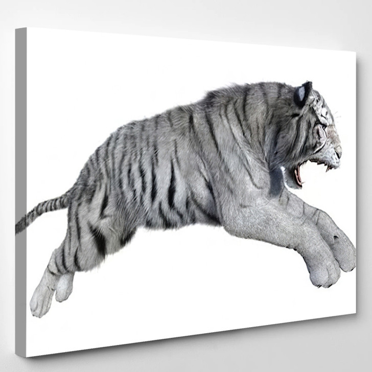 3D Rendering White Tiger Isolated On - White Tiger Animals Canvas Wall Art