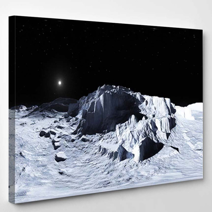 360 Degree View Earths Moon Equirectangular - Sky and Space Canvas Wall Art