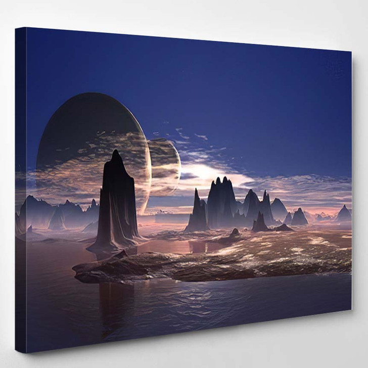 3D Rendered Fantasy Alien Planet - Sky and Space Canvas Wall Art