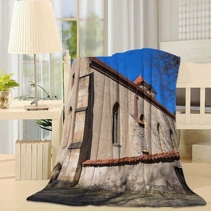 14Th Century Red Monastery Next Dunajec - Landmarks and Monuments Fleece Blanket